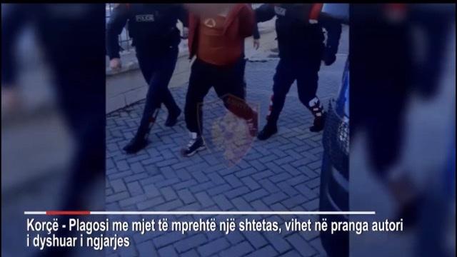 (VIDEO) Goditi me thikë bashkëqytetarin, momentet e arrestimit të 45-vjeçarit në Korçë