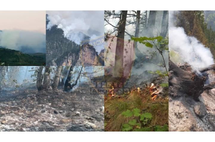 Prej 9 ditësh në flakë, vijon zjarri në Malin e Tomorrit, digjen 23 hektarë pyll