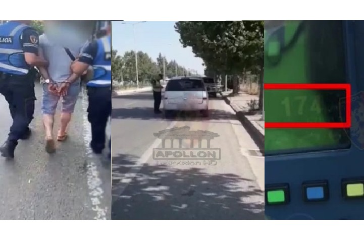 """Policia me """"dorë të hekurt"""", ndalon një të """"çmendur"""" me 174 km/h, shoferi i fugonit arrestohet i dehur duke bërë manovra të rrezikshme"""
