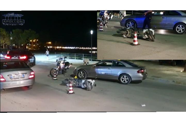 Makina përplaset me motorrin në Lungomare, i lënduari transportohet në urgjencë.
